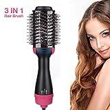 Salon One-Step Hair Asciugacapelli e Volumizzante, 3 in 1 Spazzola Rotante per Capelli con 3 Velocità/Temperature e Colpo di Aria Fredda